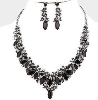 Black Jet Silver Crystal Pageant Wedding Rhinestone Necklace Jewelry Set Earring