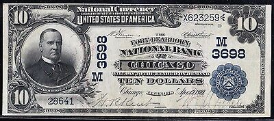 Fr618 $10 The Fort Dearborn Nat'l Bank Of Chicago, Ill #3698 Date Back Xf Hw2466