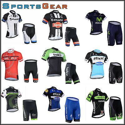 Sport Team Bike Cycling Bicyle Clothing Short Sleeve Jersey Shorts Set Padded
