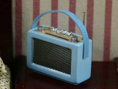 Radio Blue, Miniature Dolls House Accessory, Miniatures 1.12th Scale