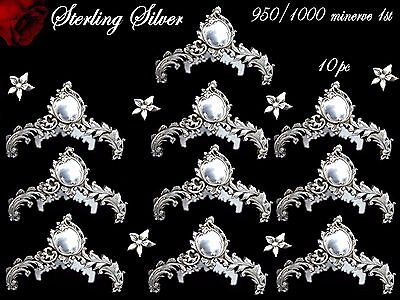RARE French Sterling Silver Knife Rests 10 pc  ROCOCO 460 grams