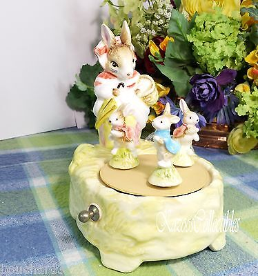 Schmid Beatrix Potter Mrs Rabbit with Peter and sisters Music box-see video