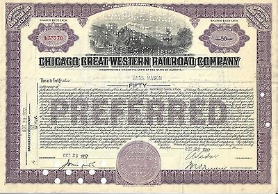 Chicago Great Western Railroad Company....1937 Stock Certificate