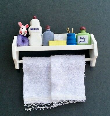 White Bathroom Shelf With Accessories & White Towels, Dolls House Miniature