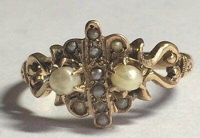 Victorian Seed Pearl Ring in 9ct Gold