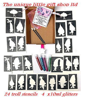 GLITTER TATTOO KIT TROLLS 24 stencils 4 glitters  glue applicator BOX