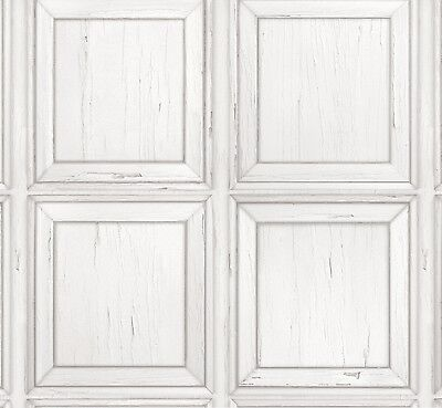Distressed Wood Panel Wallpaper White Rasch 932614 New Wooden