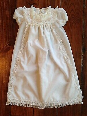 Vintage ALEXIS CHRISTENING BAPTISM GOWN DRESS White Lace 3  Months