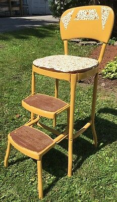 Vintage Stylaire Step Stool Mid Century Kitchen Harvest Gold Painted