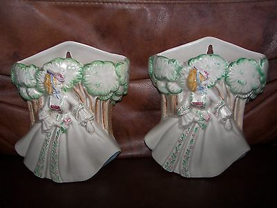 Pair of Clarice Cliff Ceramic ' Lady Anne ' Wall Pockets