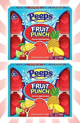x2 Peeps Fruit Punch Easter Limited Edition Marshmallow Candy - 20 Chicks Total