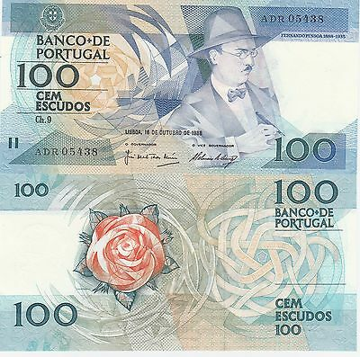 Portugal 100 Escudos Banknote,16.10.1988 Uncirculated Condition Cat#179-F-5438