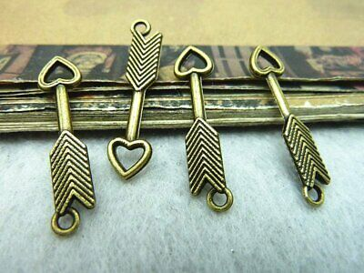 4 Arrow Pendant Connectors Arrow Charms Link Assorted Lot Silver Bronze Patina *