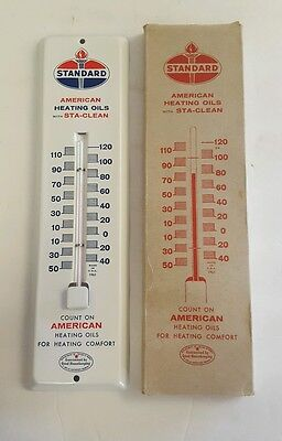 1961 NOS Standard Oil Thermometer Sign Gas Station Box American