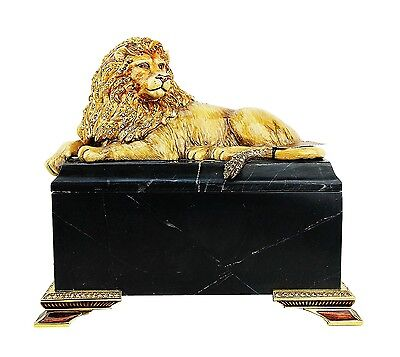 Jay Strongwater Amber Jungle Lion On Marble Box Asad Swarovski New Original Box