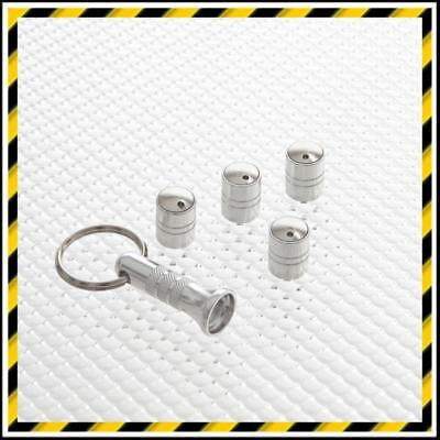 Silver Richbrook Spinning Anti-Theft Car Tyre Valve Dust Caps