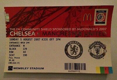 Manchester United v Chelsea Ticket - Football Community Shield Final 2007 2008
