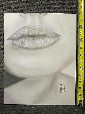 life drawing  A.J.'s Lips 11X 14 heavy weight 80 Lb (130g/m2) weight paper