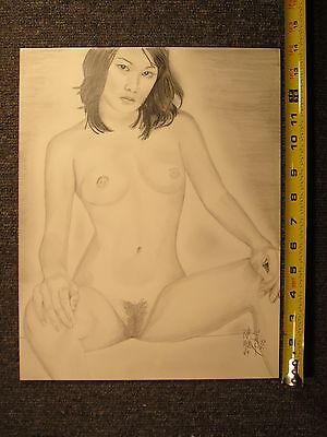 life drawing, original pencil signed 11X 14 heavy weight 80 Lb weight paper