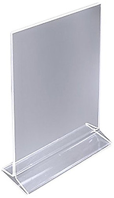"""ChefLand 5"""" X 7"""" Acrylic Sign Holder / Clear Table Card Display / Plastic Uprigh"""