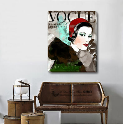 Vintage Vogue Stretched Canvas Print Framed Wall Art Home Office Decor Painting