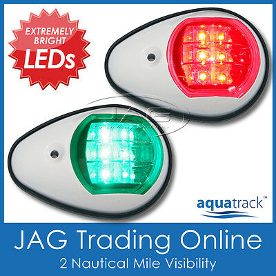 AQUATRACK LED NAVIGATION LIGHTS WHITE HOUSINGS-Port/Starboard Marine/Boat/Nav PW