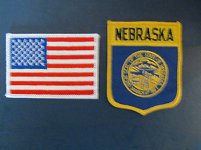 2 Lot Nebraska & USA Patches Hat Jacket Hoodie Biker Vest Backpack Travel B