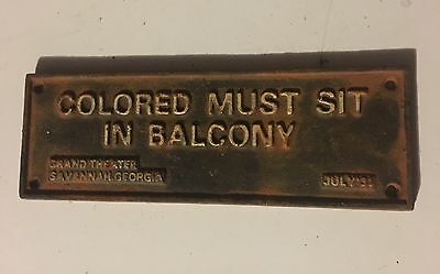 CAST IRON SEGREGATION SIGN COLORED MUST SIT IN BALCONY SAVANNAH 1931 Americana
