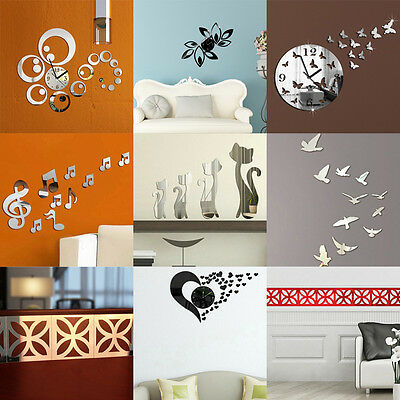 Removable 3D DIY Mirror Wall Decals Wall Stickers Art Home Living Room Decoratio