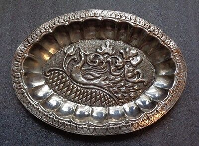 Antique Asian sterling silver tray bird of paradise
