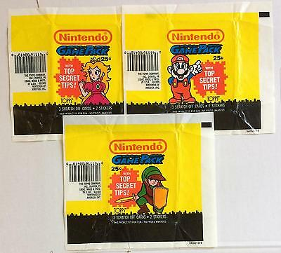 Set of 3 x Nintendo Game Pack Trading Card Wax Wrappers Vintage 1989 Topps