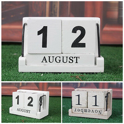 New Vintage Wood Block Perpetual Calendar Wooden Office Desk Home Decor For Gift