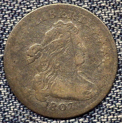 1807 Draped Bust Heraldic Eagle Dime G+ Coin