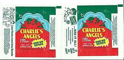 Lot of 2 x Charlie's Angels S4 Trading Card Wax Wrappers Vintage 1977 Topps