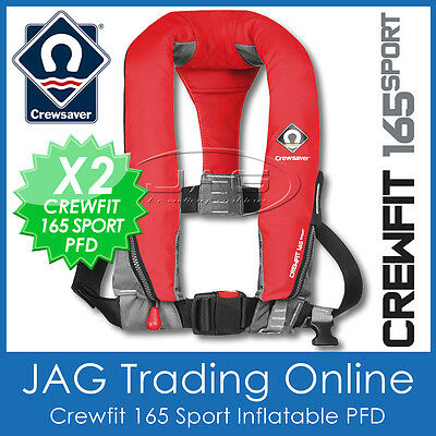 2 x INFLATABLE PFD CREWSAVER CREWFIT 165 SPORT FIERY RED-MANUAL LIFE JACKET 165N