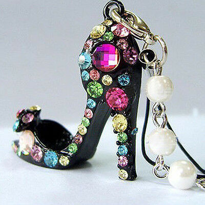 Lovely Crystal Diamond Pearl High Heels Shoe Keychain Phone Bag Charm Decor