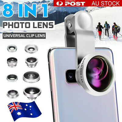 8in1 Fisheye+Wide Angle+Macro Clip On Phone Camera Lens Kit For Mobile Phone