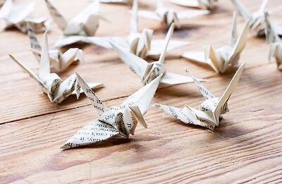 25 Handmade Origami Cranes - Book Page Folded Birds, Wedding, Party, Decoration.