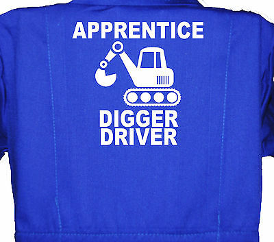 Apprentice Digger Driver, Childrens, Kids, Coverall,Boilersuit, Overall 1-7yr