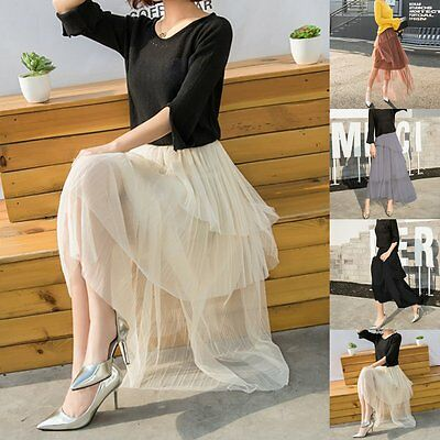 Women Ladies A Line Long Maxi Tulle Tutu Dress Princess Ballet Skirt Prom Gown