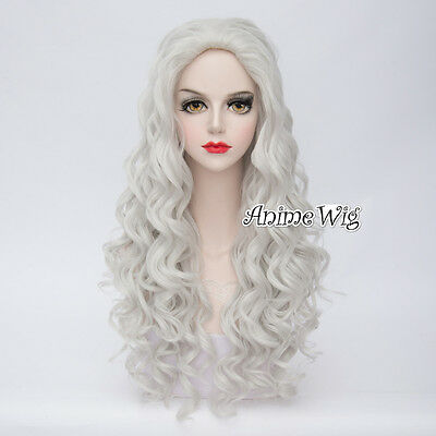 Silver White Fashion Lolita Curly Women 80cm Cosplay Wig Heat Resistant Hair