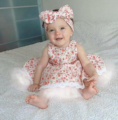 Toddler Newborn Baby Kids Girl Lace Floral Party Pageant Princess Dress 0-36M UK