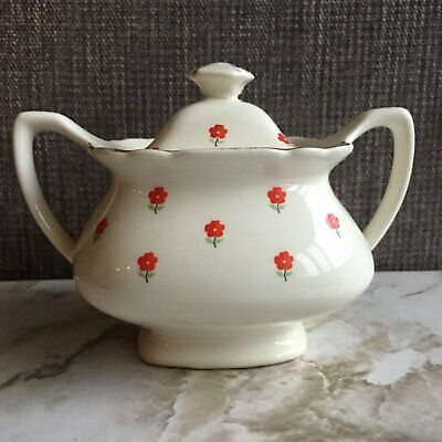 W.S. George China Covered Sugar Bowl Red Poppies flowers Double Handled