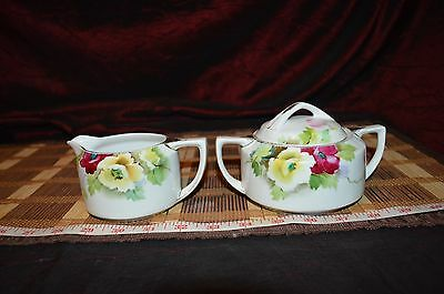 Vintage Nippon Hand Painted Floral Creamer and Sugar Bowl with Lid