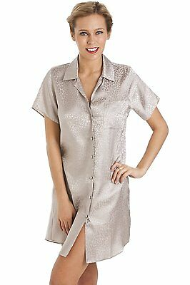 Camille Womens Ladies Luxurious Knee Length Mocha Print Satin Nightshirt