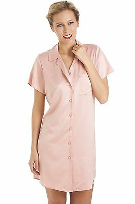 Camille Womens Ladies Luxurious Knee Length Pink Satin Nightshirt