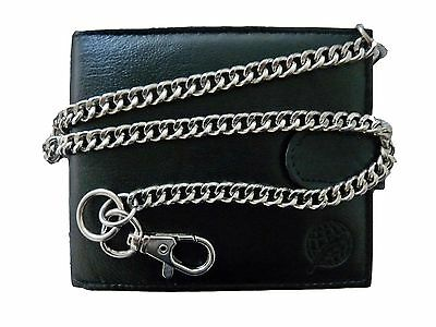 Mens Mans Leather Wallet Credit Card Wallets With Key Belt Chain Chained RL506M