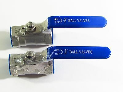 "3/4"" NPT Female 316 Stainless Steel Full Port Ball Valve lot of 2"