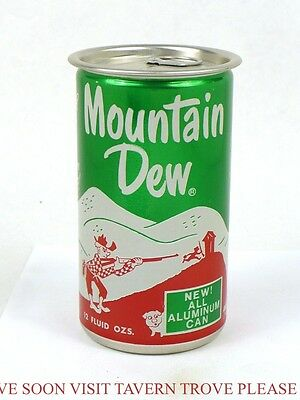 Rare 1960s ALUMINUM Mountain Dew Cola 12oz Can Tavern Trove