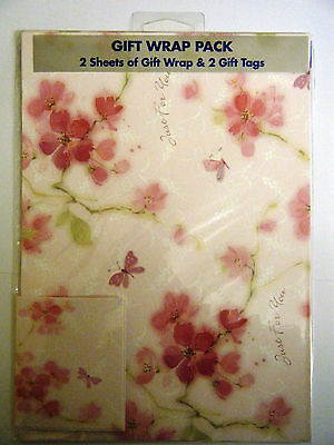 2 Sheets of Gift Wrap & 2 Tags Pack Cherry Blossom Wrapping Paper